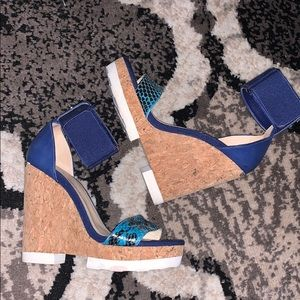 Jimmy Choo Mixed Media Cork Platform Wedge Sandals